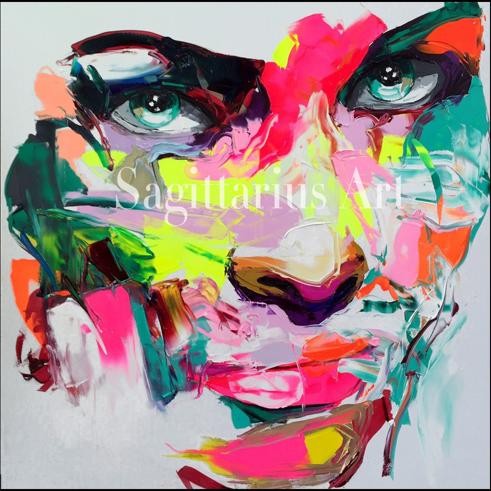 Hand Painted Palette font b knife b font Modern Abstract Portrait Face Oil Painting Canvas Francoise