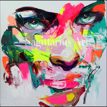 Hand Painted Palette knife Modern Abstract Portrait Face Oil Painting Canvas Francoise Nielly Designers Art Bedroom Artwork Art