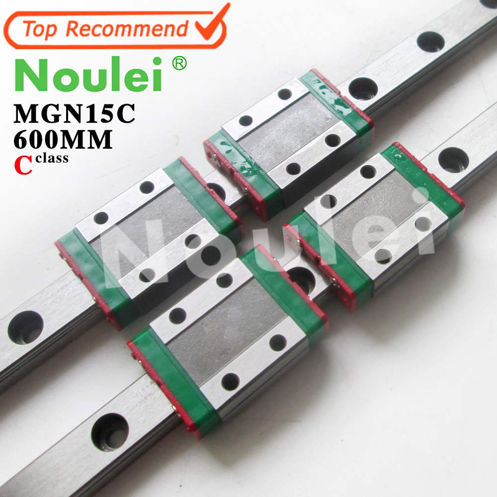 Noulei 15mm Linear Guide 2pcs MGN15 L 600mm linear rail way + 4pcs MGN15C Blocks for CNC X Y Z Axis free shipping to argentina 2 pcs hgr25 3000mm and hgw25c 4pcs hiwin from taiwan linear guide rail