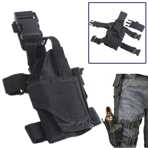 Ajustable Negro Caza al aire libre Impermeable Táctico Militar Puttee Muslo Pierna Pistola Pistola Funda Bolsa de liberación rápida Hebilla