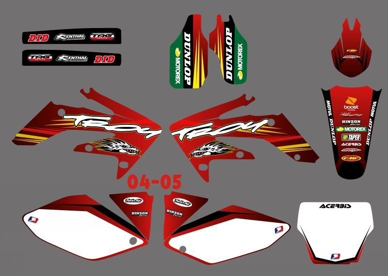 GRAPHICS & BACKGROUNDS DECALS STICKERS Kits for Honda CRF250 CRF250R 2004 2005 CRF 250 250R CRF 250 R for honda crf 250r 450r 2004 2006 crf 250x 450x 2004 2015 red motorcycle dirt bike off road cnc pivot brake clutch lever