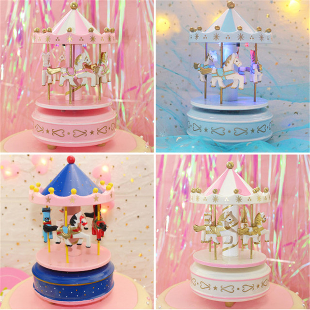 Unicorn Party 1pc Pink Unicorn Music Carousel Cake Decoration