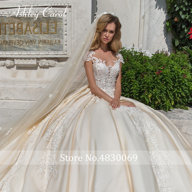 Image 3 - Ashley Carol Short A Line Wedding Dresses 2020 Sweetheart Luxury Beaded Appliques Button Princess Bride Cathedral Bridal GownsWedding Dresses   -