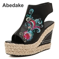 2016Summer new folk style embroidery women  sandals wedges Platform Trifle chinese style girl summer shoes