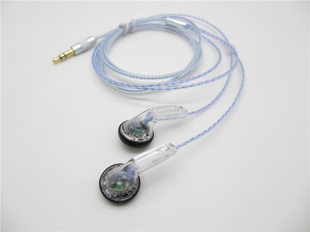 DIY EMX500S 5N Silver Plate Cable Earphones Flat Head Plug DIY Earphone HiFi Bass Earbuds DJ Earbuds Heavy Bass Sound