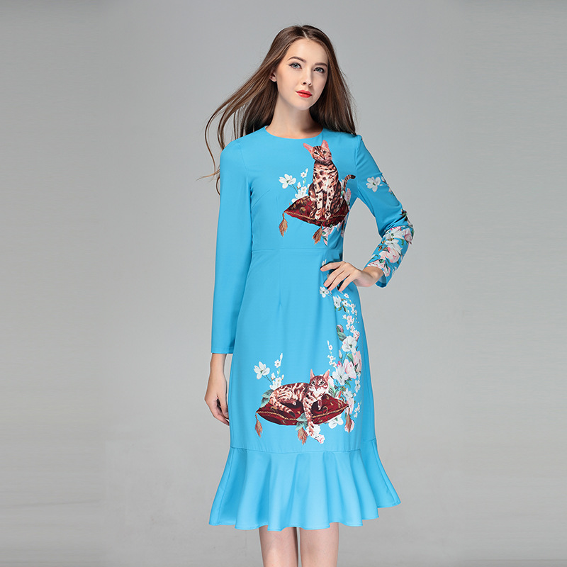 2018 New Fashion Cats Print Blue Dress Fashion High Quality Full Sleeve O neck Slim Fashion