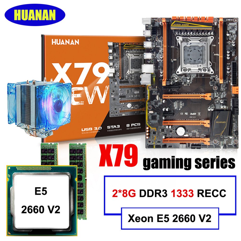 Best seller Brand HUANAN deluxe X79 gaming motherboard Xeon E5 2660 V2 with CPU cooler RAM 16G(2*8G) DDR3 RECC all good tested huanan v2 49 x79 motherboard with pci e nvme ssd m 2 port cpu xeon e5 2660 c2 ram 16g ddr3 recc support 4 16g memory all tested