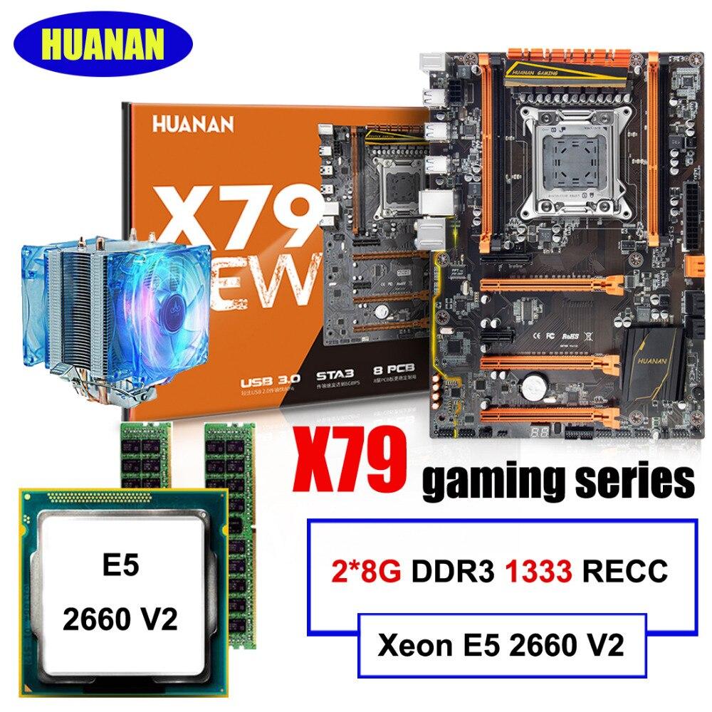 Meilleur vendeur Marque HUANAN deluxe X79 jeu carte mère Xeon E5 2660 V2 avec CPU cooler RAM 16G (2*8G) DDR3 RECC tout bon testé