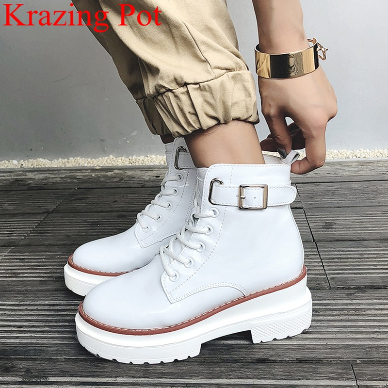 2018 superstar buckle genuine leather round toe square heel women ankle boots office lady mujer motorcycle boots winter shoe L27 basic 2018 women thick heel ankle boots black pu fleeces round toe work shoe red heel winter spring lady super high heel boots