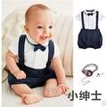 2017 nuevo estilo ropa del bebé caballero de manga corta Arco + T shirt + pants 3 unids ropa de recién nacido bebé traje de Boda ropa