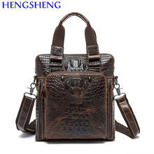 Hengsheng promotion genuine leather men bag of crocodile men messengers bag with top quality cow leather