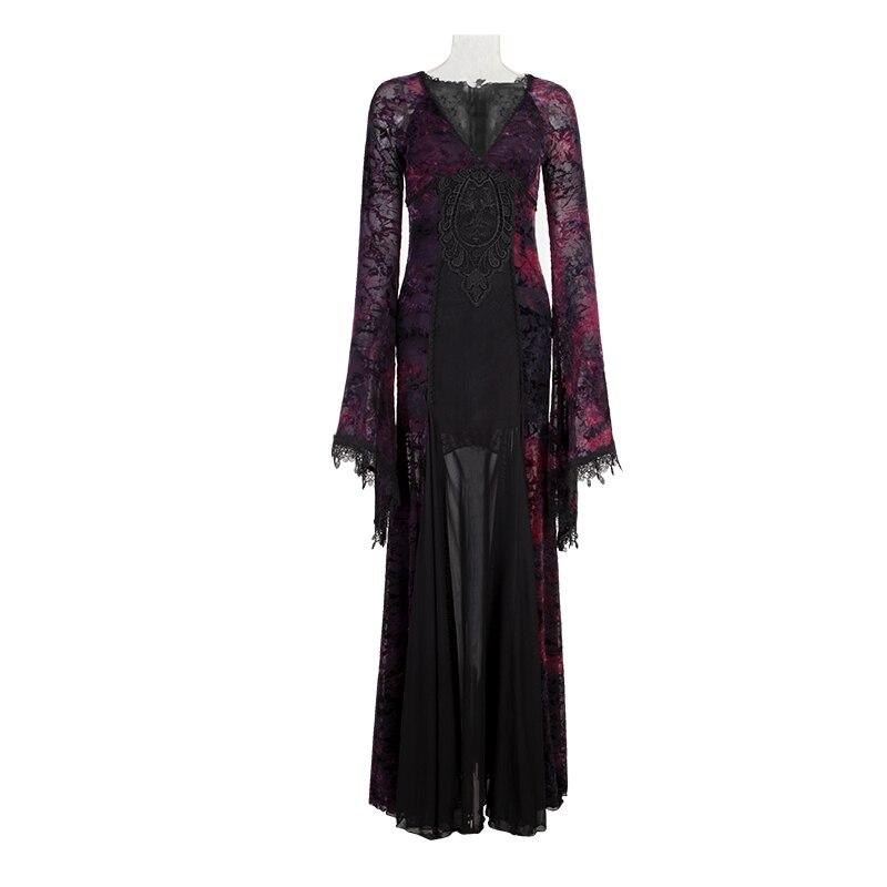 Пикантные Для женщин с длинным рукавом фиолетовый Slinky длинное платье Готический Вечерние платья стекаются темно фиолетовый Кружево перспе
