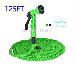 New Style 125FT Flexible Gargen Water Hose Pipe For Car Valve With Spray Gun With EU US Connector Blue,Green Magic Snake Hose