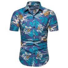 Floral Shirt Men Short sleeve Casual Social for Man Flower Blouse Hawaiian clothing Summer