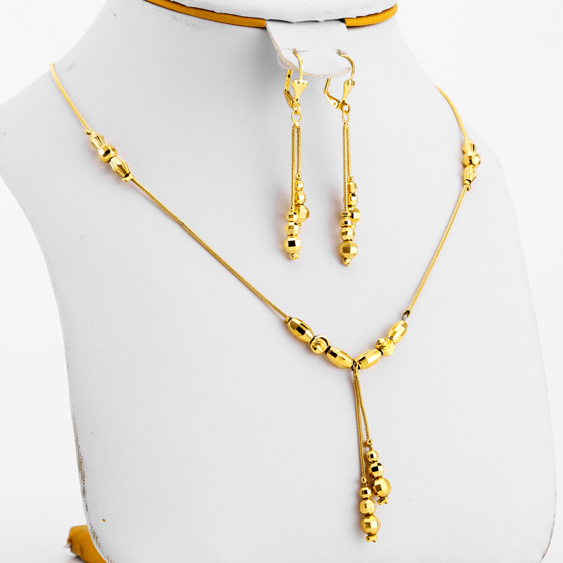JHplated African Indian Jewerly Fashion Ball Jewelry Gold Color Small Beads Necklace Earrings for Women/Girls gift
