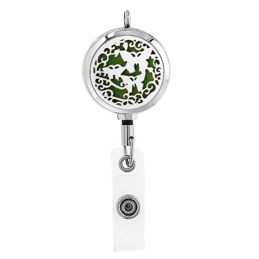 Yeni 30mm KIMLIK Rozeti Kaydırma Tutucu Kartı Geri Çekilebilir Kolye Aromaterapi uçucu yağ Difüzör Parfüm Madalyon Hediye