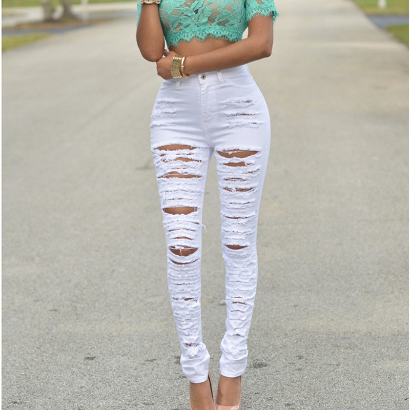 New Fashion Summer Women Casual Hole Jeans High Waist Skinny Elastic Pencil Jeans Slim Ripped Sexy Female Girls Trousers Jeans