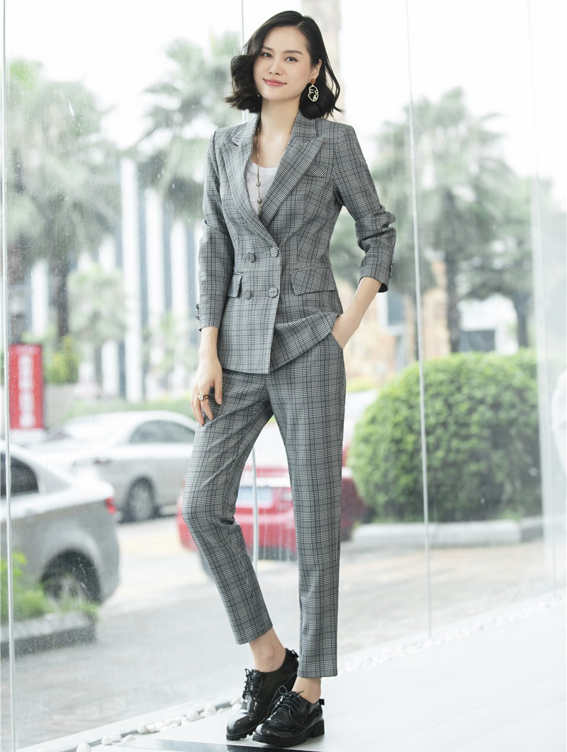 Bureau Hiver Dames Mode Avec D'affaires Grey Blazers Automne Ensemble Plaid Conceptions Pantalons Vestes Et Uniformes Costumes Pantalon Pantsuits 2018 wPqOw7nrpA