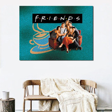 Friends TV Show Poster Sitting On Couch Art Canvas Painting Wall Picture Print Home Modern Bedroom Decoration Accessories