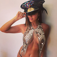 AKYZO Bling Festival Metal Crop Tops Sequin Gold Chain Tassel Top Silver Coins Top NightClub Dance