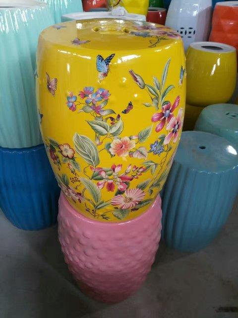 Yellow Erfly Porcelain Jindezhen Bathroom Dressing Ceramic Garden Stool Chinese Drum
