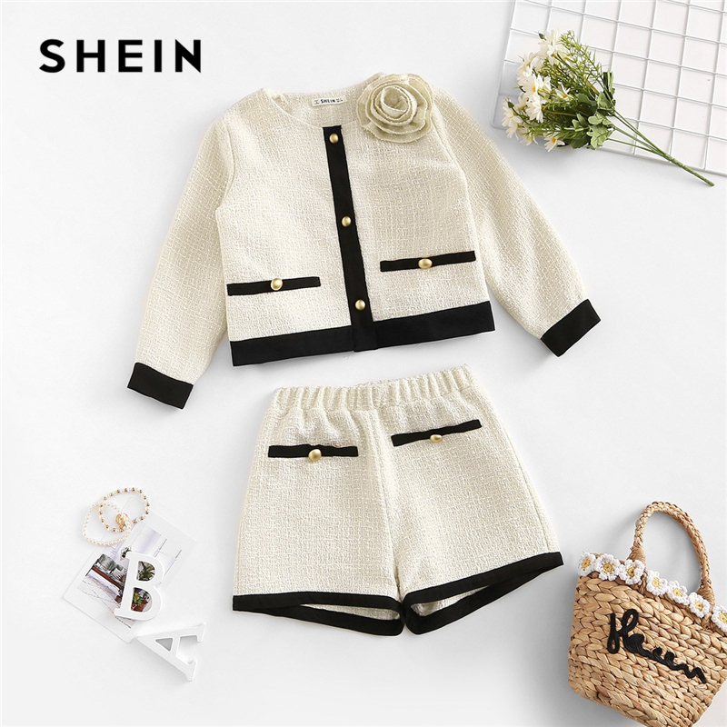 SHEIN Apricot Appliques Button Top And Shorts Elegant Girls Clothing Two Piece Set 2019 Spring Fashion Vintage Children Clothes