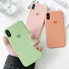 Cute Love Shape Logo Phone Case For iPhone XS Max X XR Smooth Skin Liquid Silicone Protect 7 8 Plus 6 6S