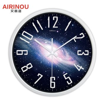 Airinou the Moon Starry Sky and Mars 3 Styles ,Glass&Metal Silent Movement Wall Clock,Children Room Museum Theme Park  Decorate 9