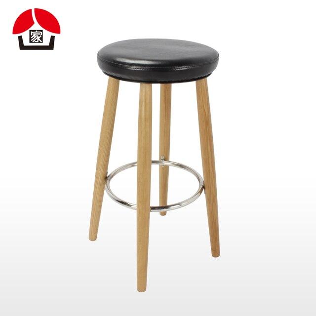 Round Wood Bar Stool Tall Bar Chairs Bar Stool Bar Stool Soft Seat Pidian  Front Wood
