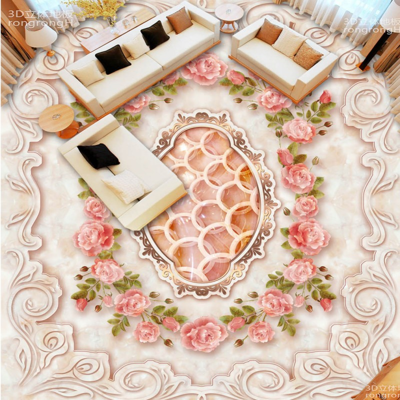 Free shipping Marble rose jade carving Continental 3D floor self-adhesive flooring custom living room photo wallpaper flowers free shipping waterfall hawthorn carp 3d outdoor flooring non slip shopping mall living room bathroom lobby flooring mural