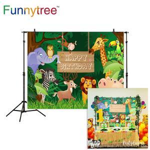 Image 1 - Funnytree Safari Hintergrund Dschungel Cartoon Tiere Geburtstag Party Dessert Tisch Decor Kinder Fotografie Hintergrund Photo