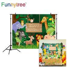 Funnytreeサファリ背景ジャングル漫画動物の誕生日パーティーデザートテーブル装飾子供の写真の背景photocall