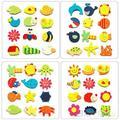 12pcs Colorful Kids Baby Wood Cartoon Fridge Magnet Child Kids Educational Toys 1Q3H 3RT1