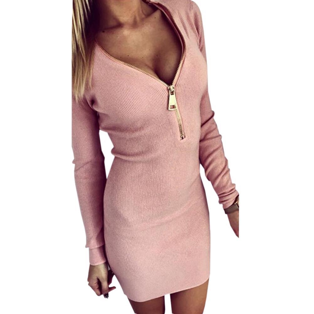 V Neck Zipper Front Knitted Winter Sweater Dress Long Sleeve Mini ...