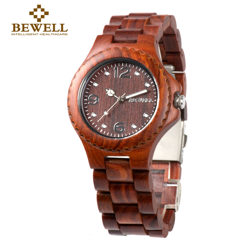 BEWELL W038A Women Red Wood Watch Unisex Lightweight Luminous Pointers Analog Quartz Wrist Watch For Men Vintage Handmade Watch wireless restaurant calling system 5pcs of waiter wrist watch pager w 20pcs of table buzzer for service