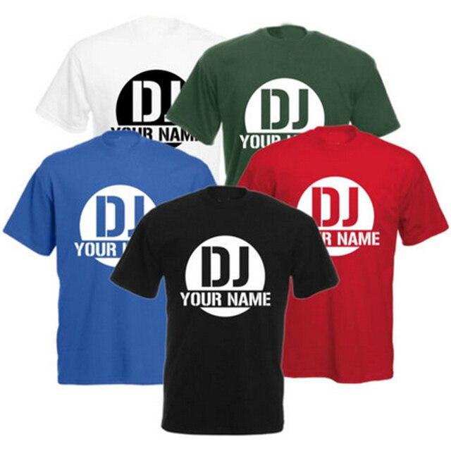 cf8a360e78 Personalizada camiseta dj su nombre logotipo impreso para mujer para hombre  casual Tops Camisetas Tees Camisas