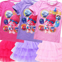 2017 New Girls Clothes Children Trolls Clothing Sets 2pcs Printed T-Shirt+Tutu Skirt Princess Birthday Party Dance Costume