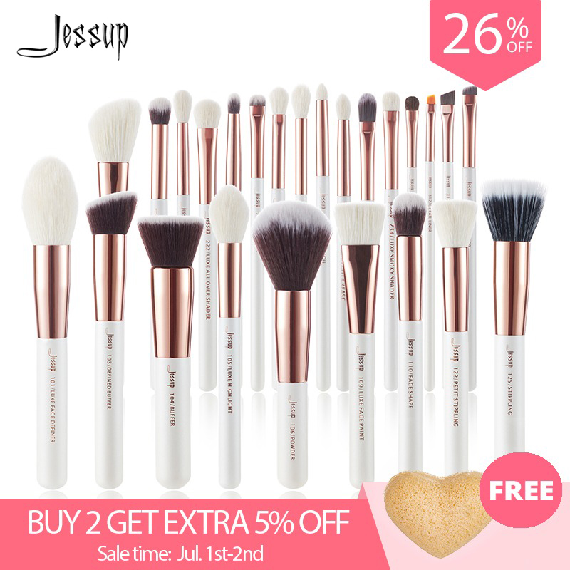 Jessup brushes Pearl White/Rose Gold Makeup brushes set Professional Beauty Make up brush Natural hair Foundation Powder Blushes-in Eye Shadow Applicator from Beauty & Health on Aliexpress.com | Alibaba Group