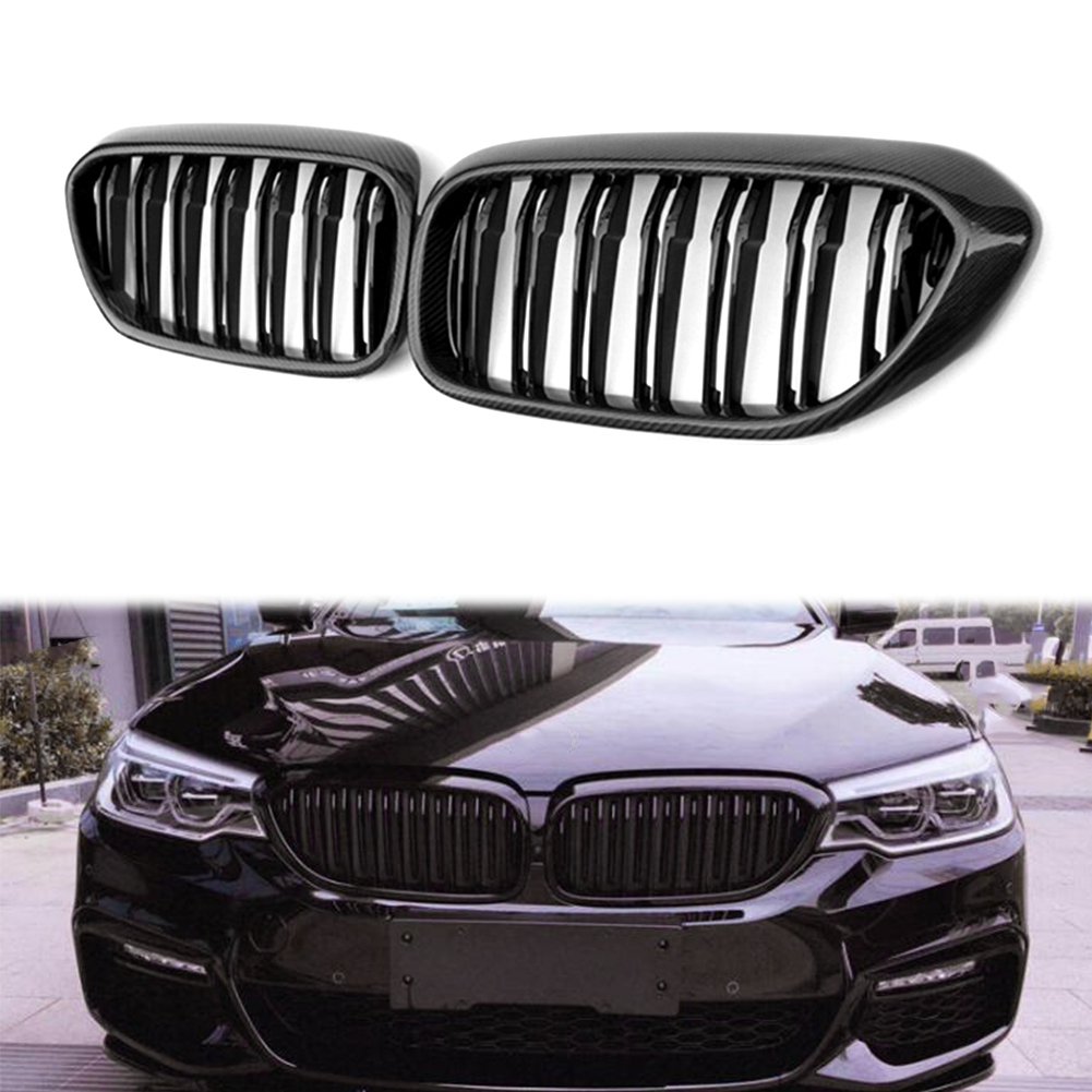 Auto Car Front Kedney Grille <font><b>Grill</b></font> For BMW 5 Series <font><b>G30</b></font> G31 G38 530i 540i 2017 2018 2019 Carbon Fiber ABS Plastic Accessories image