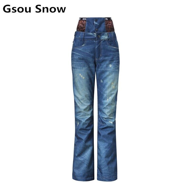 Gsou snow pantalon de ski extérieur femme taille haute denim pantalon de ski femme pantalon de snowboard épaississement coupe-vent imperméable chaud