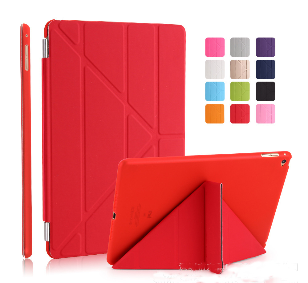 For iPad Air 1 2 Case pu Leather smart wake up sleep magnetic flip stand with solid plastic back cover for ipad 5 6+stylus for ipad air2 case pu leather smart wake up sleep solid pc back cover magnetic flip stand origimi brand aiyopeen with gift