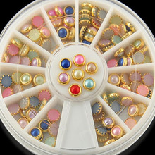 New Arrive Fashion Colorized Rhinestones For Nails Gold Alloy Nail Art Glitter Studs Stickers Decoration Jewelry Manicure Tool