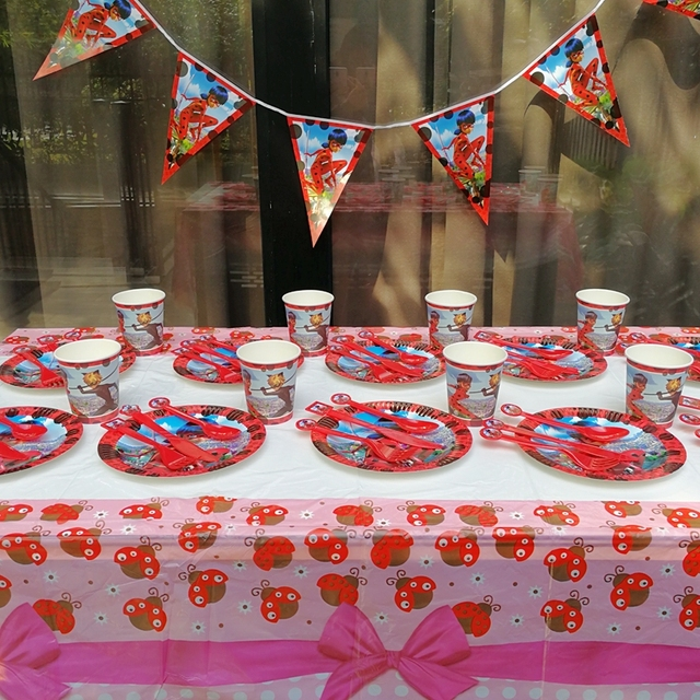 61pcs/set Miraculous Ladybug Cat Tableware Birthday Party Decoration Table Cloth cups Paper plate knife & 61pcs/set Miraculous Ladybug Cat Tableware Birthday Party Decoration ...