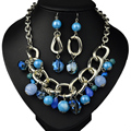 Exaggerated fashion atmosphere necklace retro style personality chain necklace earrings two suit Multi-color optional