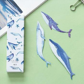 30pcs/box kawaii Whale Fish paper bookmark Korean cute bookmarks book holder message card school supplies papelaria 30pcs lot cute kawaii paper bookmark vintage japanese style book marks for kids school materials