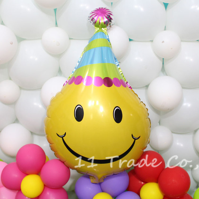 Big 70 X 45cm Smile Face Balloons Happy Birthday Party Hat Foil Globos Cartoon Cap