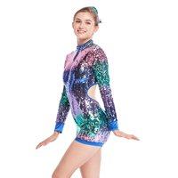 Biketard Jazz Acrobat Costumes Dance Performance Wear Heavy Sequins Long sleeves
