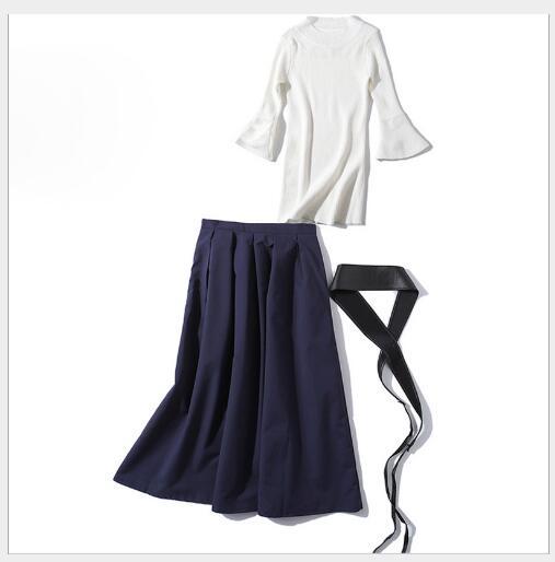 À White Ceinture Dame Nouveau 2 Outwear ligne Ensemble black Solide Manches Jupe Slim A Fit Fusée Femmes Casual cou 2019 Chandail Mode O Costume Pièces Printemps FqWSUw