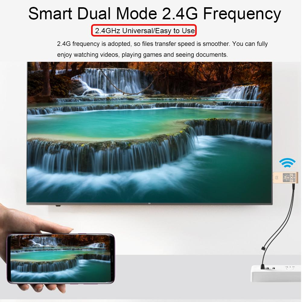 2.4G/Hz Dual System Dual Mode HDMI HD Mobile Computer Wireless Mirroring Screen Device 1080p HDMI HD Wired/Wireless Connection