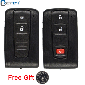 OkeyTech Remote Smart Car Key Case 2 3 Buttons For Toyota Prius 2004 2005 2006 2007 2008 2009 TOY43 Uncut Blade+2032 Battery image